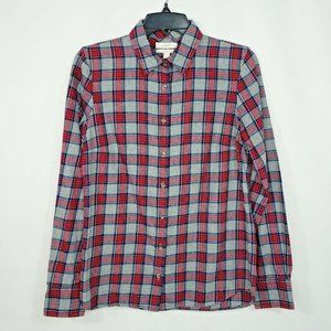 J Crew Womens Flannel Shirt Size 2 Gray Red Black